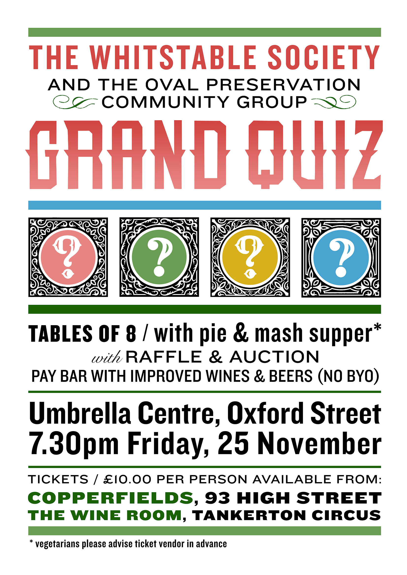 Whitstable Society and Oval Preservation Community Group Grand Quiz 25th November 2016